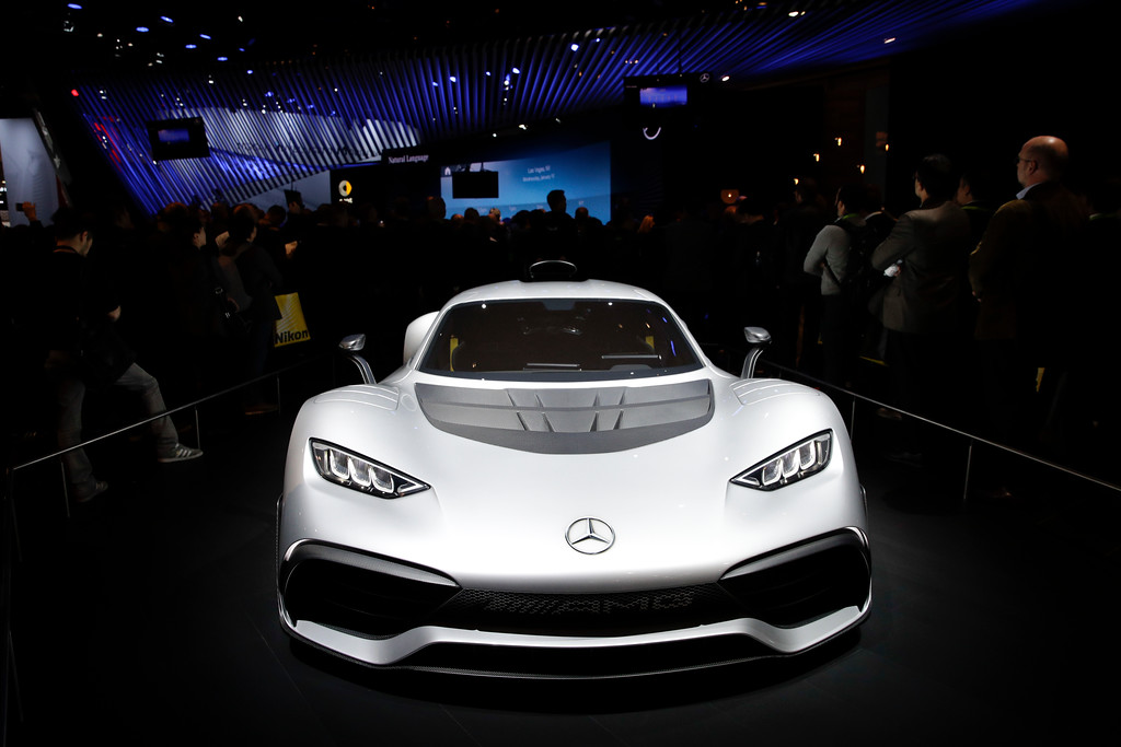 . The Mercedes-AMG Project One plug-in hybrid supercar appears on display at CES International, Tuesday, Jan. 9, 2018, in Las Vegas. (AP Photo/Jae C. Hong)