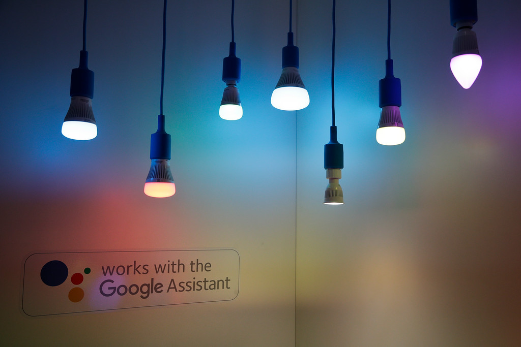. Wiz\'s Google Assistant-enabled smart LED lights are displayed at CES International Wednesday, Jan. 10, 2018, in Las Vegas. (AP Photo/Jae C. Hong)