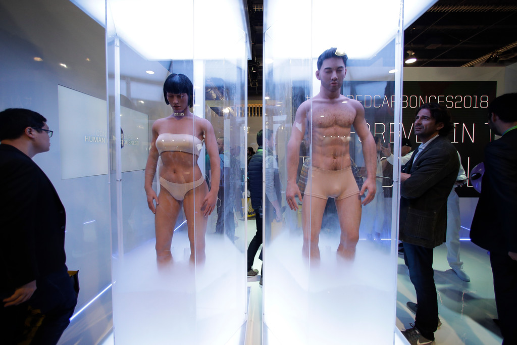 ". Human sleeves are on display to promote Netflix\'s sci-fi series ""Altered Carbon\"" at CES International Tuesday, Jan. 9, 2018, in Las Vegas. (AP Photo/Jae C. Hong)"