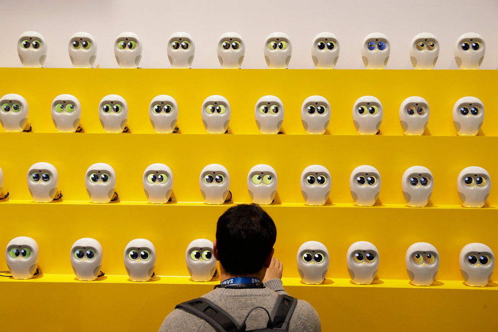 . An attendee looks at book reading robots called Luka at CES International Tuesday, Jan. 9, 2018, in Las Vegas. (AP Photo/Jae C. Hong)