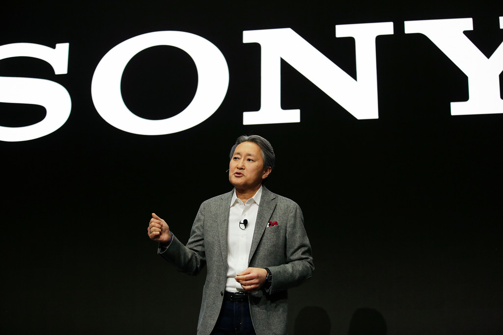 . Kazuo Hirai, president and CEO of Sony, speaks during a Sony news conference at CES International, Monday, Jan. 8, 2018, in Las Vegas. (AP Photo/John Locher)