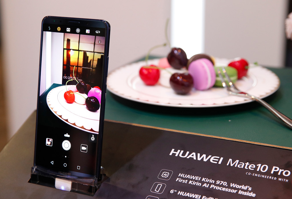 . The Huawei Mate10 Pro phone is on display at the Huawei booth during CES International, Tuesday, Jan. 9, 2018, in Las Vegas. (AP Photo/John Locher)