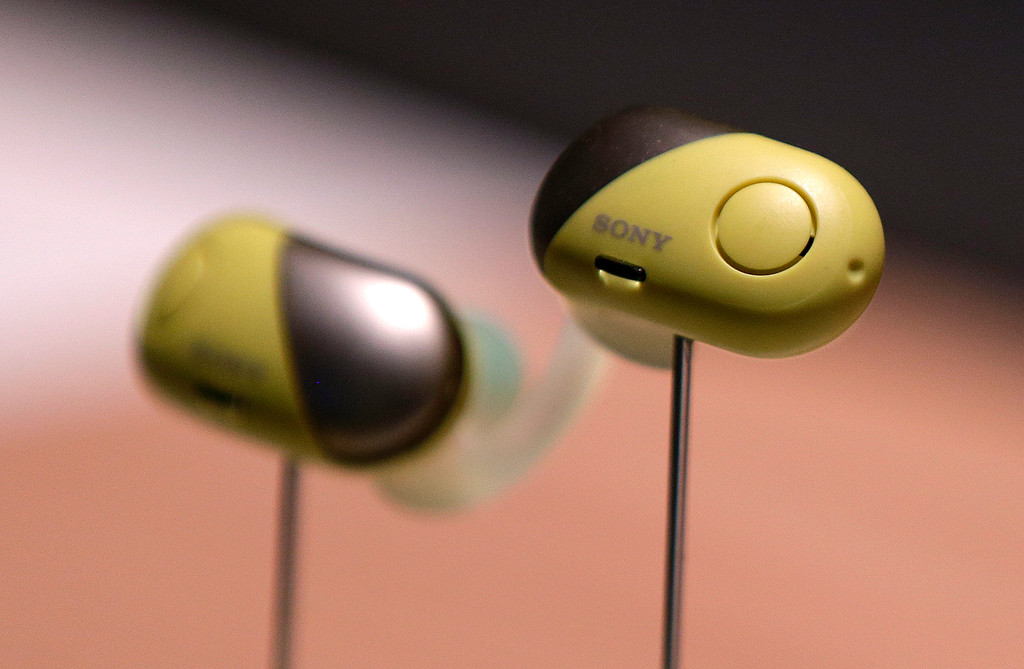 . Sony WF-SP700N noise-canceling earphones are on display after a Sony news conference at CES International, Monday, Jan. 8, 2018, in Las Vegas. (AP Photo/John Locher)