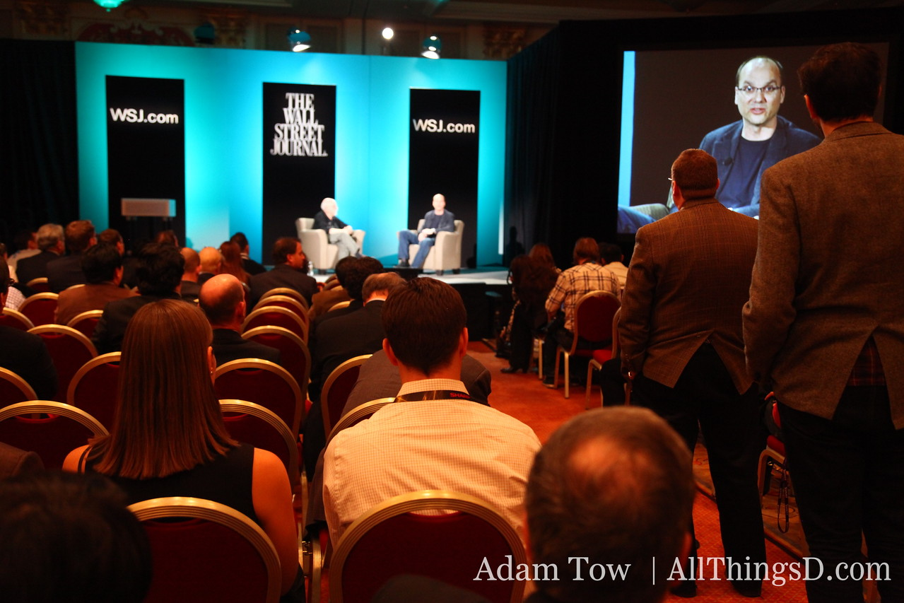 Google's Andy Rubin fields questions from the crowd following his interview session with Walt Mossberg.