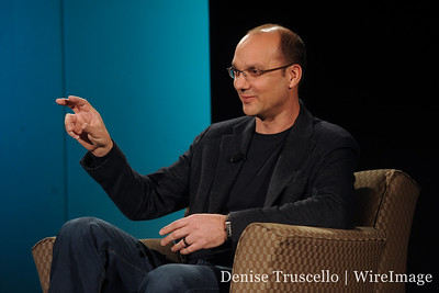 Andy Rubin makes a point about the Nexus One smartphone.