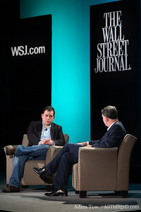 Peter Kafka and Reed Hastings onstage at All Things Digital's event in Las Vegas.