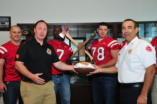 2013-06-27, Football Trophy presentation with Fire Commissioner