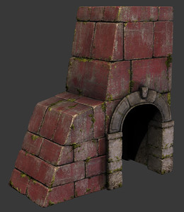 Building Piece with Archway - Low Poly - Textured