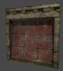 Wall Section - Low Poly - Textured