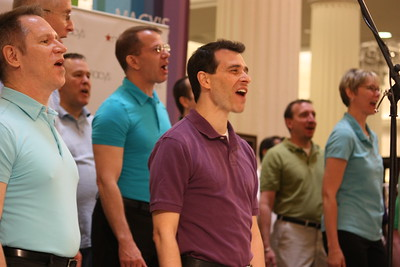 "The Chicago Gay Men's Chorus (CGMC) performs selections from ""DIVAS!"" at Macy's on State, Chicago, IL on June 22, 2011 in celebration of Pride Month.  Macy's is featuring CGMC on its float in the 42nd Annual Pride Parade, to be held on Sunday, June 26, 2011.  Photo ©2011 Rick Aiello Photography."