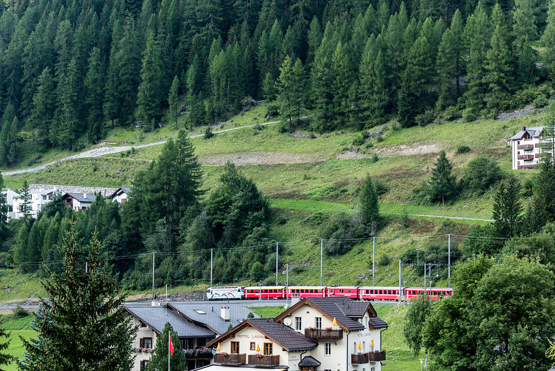 View from window of hotel room (3rd floor) in Bergün.