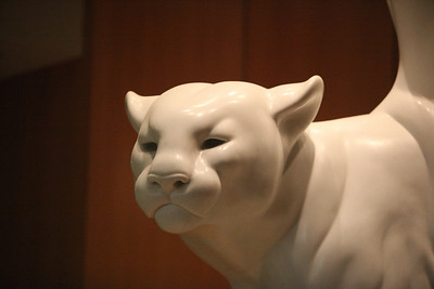 Canyon Princess.  This 18-foot tall, 16,000 pound white cougar reigns over the Edward L. Gaylord Exhibition Wing.  Carved from a single block of Colorado yule marble, this sculpture was a gift to the Museum from Prix de West Award-winning artist Gerald Balciar.