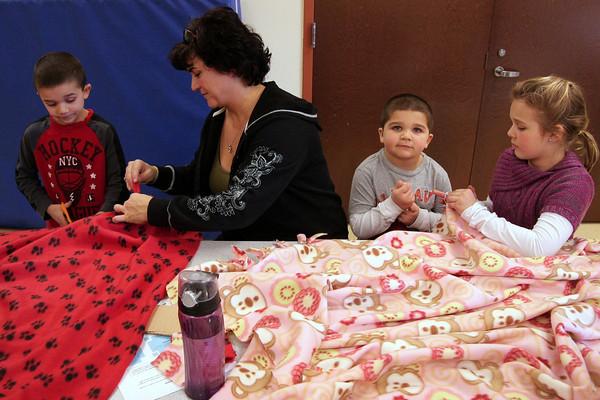 Lower Gwynedd ES make blankets for CHOP on MLK Day