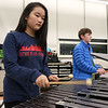 Chelmsford All Town Wind Ensemble was preparing to perform at the National Band and Orchestra Festival at Carnegie Hall in New York City in March at McCarthy Middle School on Wednesday night. Playing the xylophone during the practice is seventh grader Hope Zhao, 12. Next to her is sixth grader Christopher Corfield, 12, playing the concert bells. SUN/JOHN LOVE