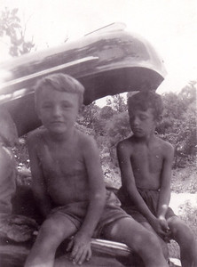Doug, Me, and Dad's '42 Pontiac