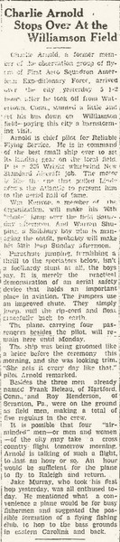 8.  Article from Burlington (NC) Daily News, August 8, 1929.  It describes an airplane from Reliable Flying Service that was visiting the area.  The description appears to apply to the airplane in photo 7.