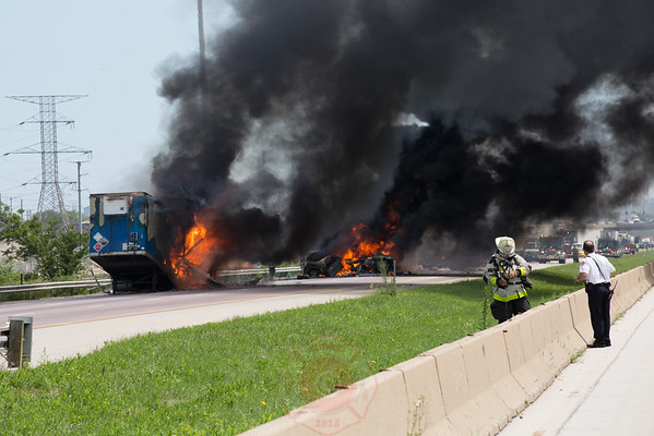 2-11 Alarm Fire / Level 1 Haz-Mat Outbound I-55 at Cicero Avenue July 2016