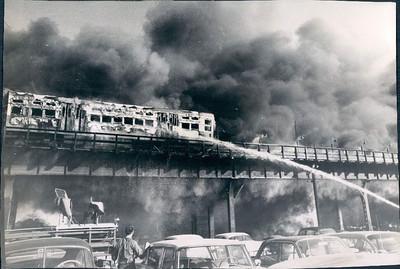 10-18-1962  EL CAR ON FIRE AT 35TH STREET