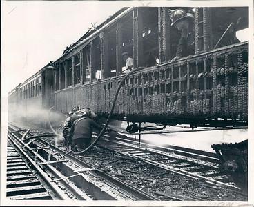 1944 GUTTED CTA EL TRAIN FIRE