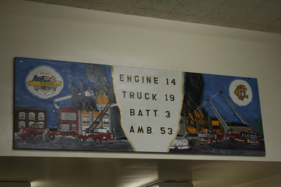 PAINTING ON BACK WALL OF ENGINE 14'S HOUSE
