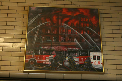 LEE KOWALSKI PAINTING ON THE BACK WALL OF ENGINE 5's HOUSE