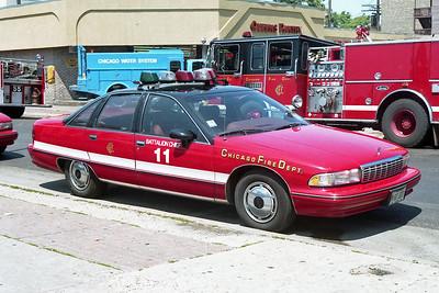 BATTALION 11  1992  CHEVY CAPRICE   WHITE STRIPE   FIRE SCENE   A-354