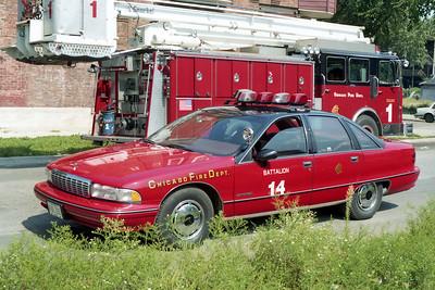 BATTALION 14  1992  CHEVY CAPRICE   AT FIRE SCENE   A-349