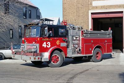 ENGINE 43  1974  MACK MB - 1987  E-ONE   1250-500   D-399   X- ENGINE 108
