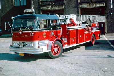 CHICAGO FD  TRUCK 17  1966  MACK C95 - PIRSCH   100' MIDSHIP   AT THE STATION