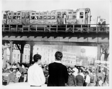 CHICAGO FD  CTA INCIDENT  BURNED OUT RAIL CAR  PHOTO 1