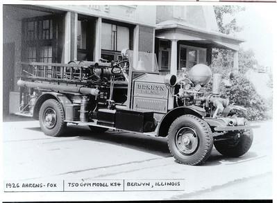 BERWYN FD ENGINE 2 1926 AHRENS FOX 750 GPM
