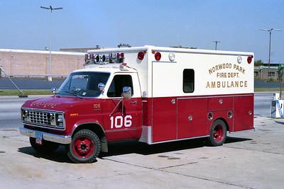NORWOOD PARK FD  AMBULANCE 106  1979  FORD E350 - EVF