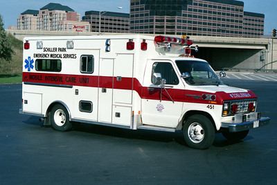 SCHILLER PARK AMBULANCE 451  FORD E WITH RED STRIPE