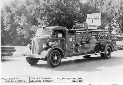 ARLINGTON HEIGHTS FD  ENGINE 2  1937  FEDERAL COE - GENERAL DETROIT  500-125    QUAD