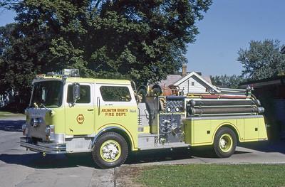ARLINGTON HEIGHTS FD  ENGINE 411  1975 MACK CF   1000-500    LIME GREEN