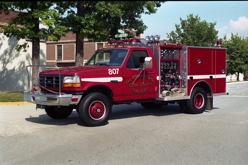 OAK FOREST HOSPITAL COOK COUNTY FIRE DEPARTMENT <br /> ENG 807  <br /> 1995 FORD F-350 - DARLEY  <br /> 300-250