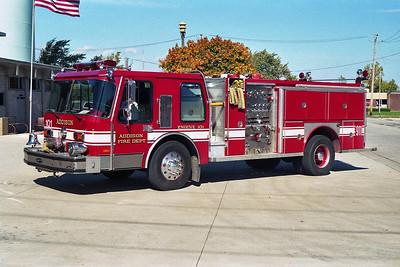 ADDISON FPD  ENGINE 101  1985  E-ONE HURRICANE  1250-500   #4209   WHITE STRIPE