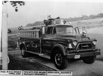 ADDISON FPD  ENGINE 106  1956  GMC - DARLEY   750-500     DAN MARTIN PHOTO