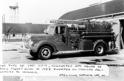 ARGONNE  ENGINE 2   1949 MACK TYPE 95  1000-200   CONVERTED TO A SQUAD IN 1953 BY JACOB PRESS