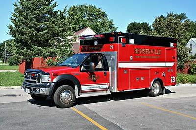 BENSENVILLE FPD MEDIC 78  2007  FORD F-450 - MEDTEC   #7815