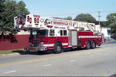 BENSENVILLE FD  TOWER 90  1998  PIERCE LANCE   2000-200-100' PAP   EB-765