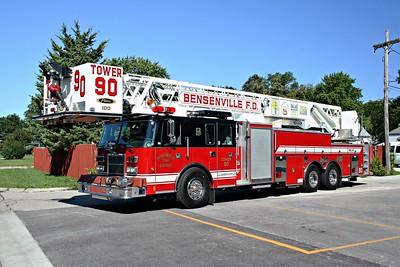 BENSENVILLE FD  TOWER 90  1998  PIERCE LANCE   2000-200-100' PAP   EB-765   BLACK ROOF