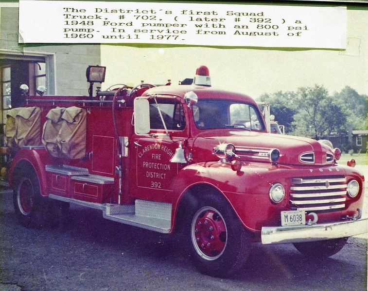 CLARENDON HEIGHTS SQUAD 392   1948 FORD - JOHN BEAN   FIRST SQUAD TRUCK