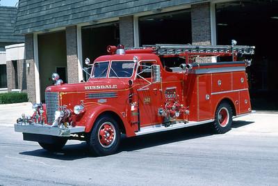 HINSDALE FD  ENGINE 342  1955 PIRSCH  750-300   #2195