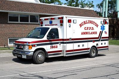 BURLINGTON COUNTRYSIDE FPD  AMBULANCE 1352  1989  FORD E350 - WHEELED COACH