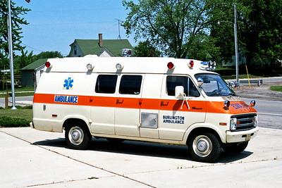 BURLINGTON COMMUNITY FPD  AMBULANCE 1351   1974  DODGE - MEDICRUISER