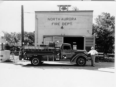 NORTH AURORA ORIGINAL STATION AND FIRE TRUCK  JEFF SCHIELKE COLLECTION  BF
