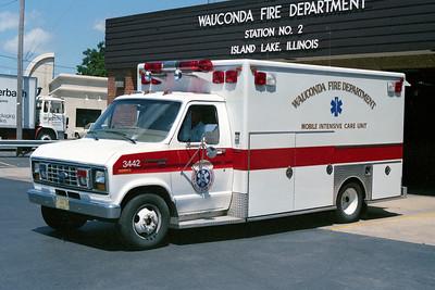 WAUCONDA FD  AMBULANCE 3442  1989  FORD E350 - EVF
