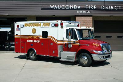 WAUCONDA  FD  AMBULANCE 3445  2007  IHC 4300 - MEDTEC   #7139