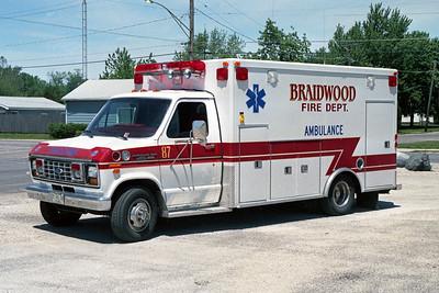 BRAIDWOOD FPD  AMBULANCE 87  1990  FORD E350 - ROAD RESCUE